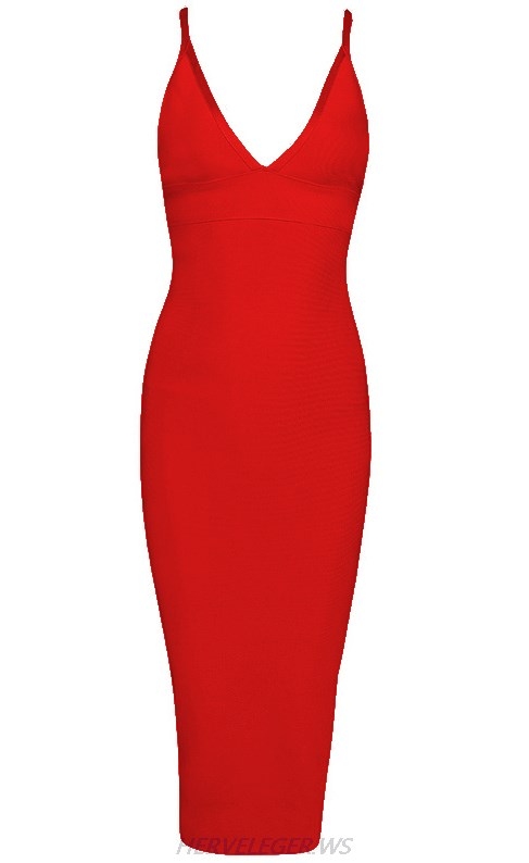 Herve Leger Red V Neck Halter Dress