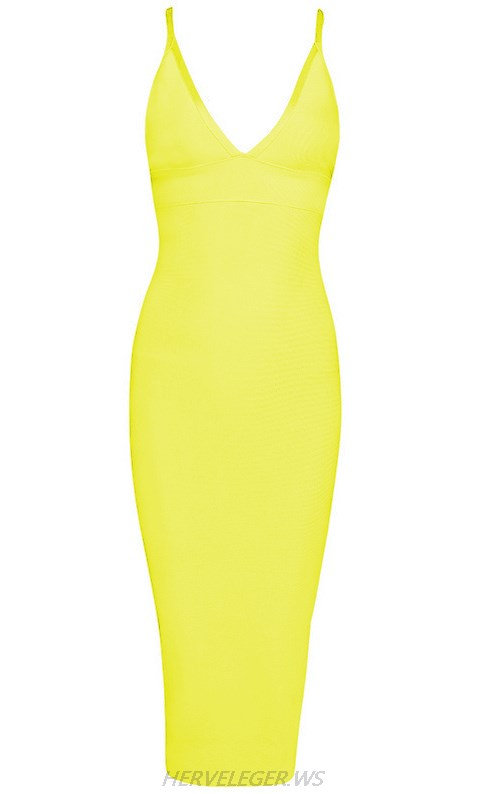 Herve Leger Yellow V Neck Halter Dress