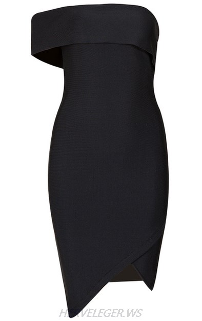 Herve Leger Black Asymmetric Bardot Dress