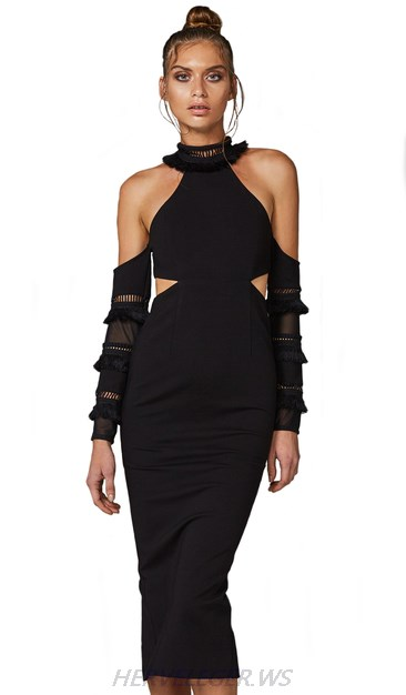 Herve Leger Black Cold Shoulder Dress