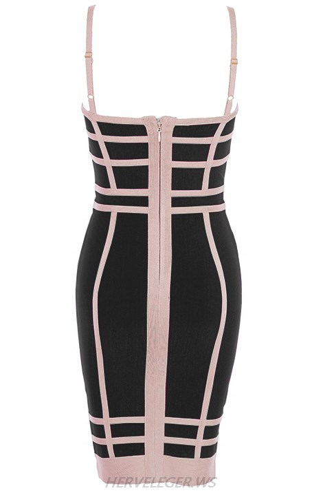 Herve Leger Black And Nude Colorblock Dress