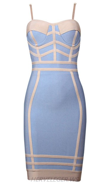 Herve Leger Blue And Nude Colorblock Dress