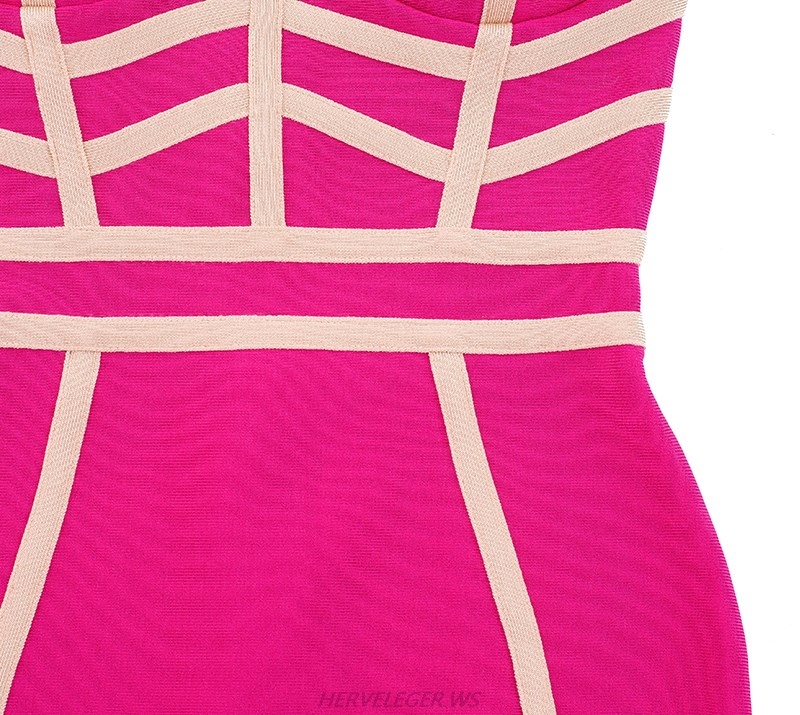 Herve Leger Pink And Nude Colorblock Dress