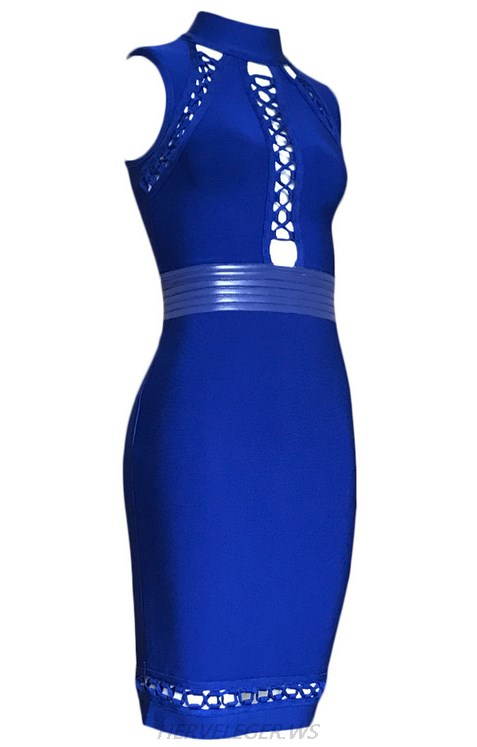 Herve Leger Blue Halter Multi Lace Up Dress