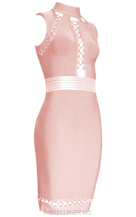 Herve Leger Nude Halter Multi Lace Up Dress