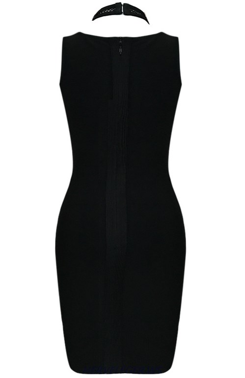 Herve Leger Black Halter Multistitch Crochet Dress