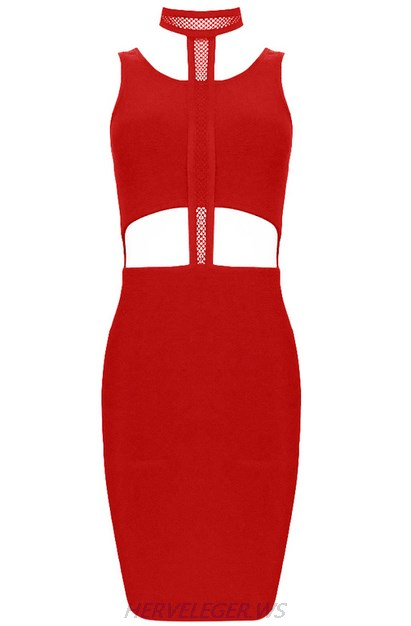 Herve Leger Red Halter Multistitch Crochet Dress