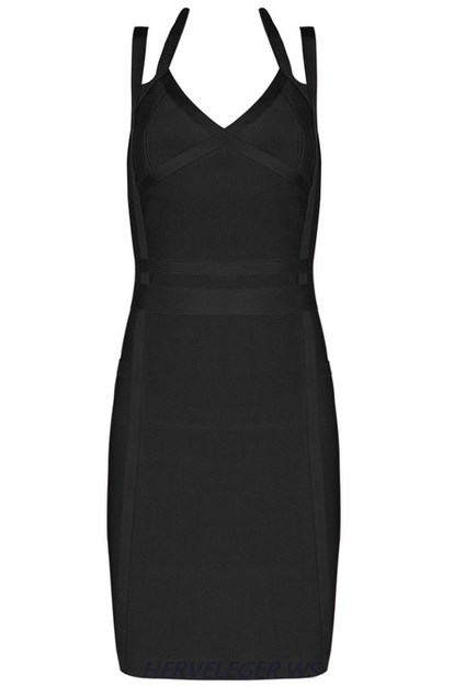 Herve Leger Black Halter Straps Dress