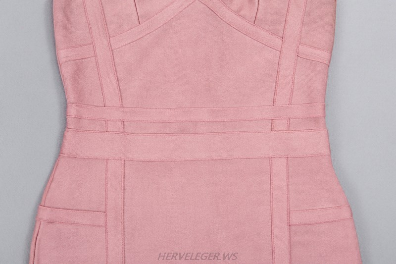 Herve Leger Pink Halter Straps Dress