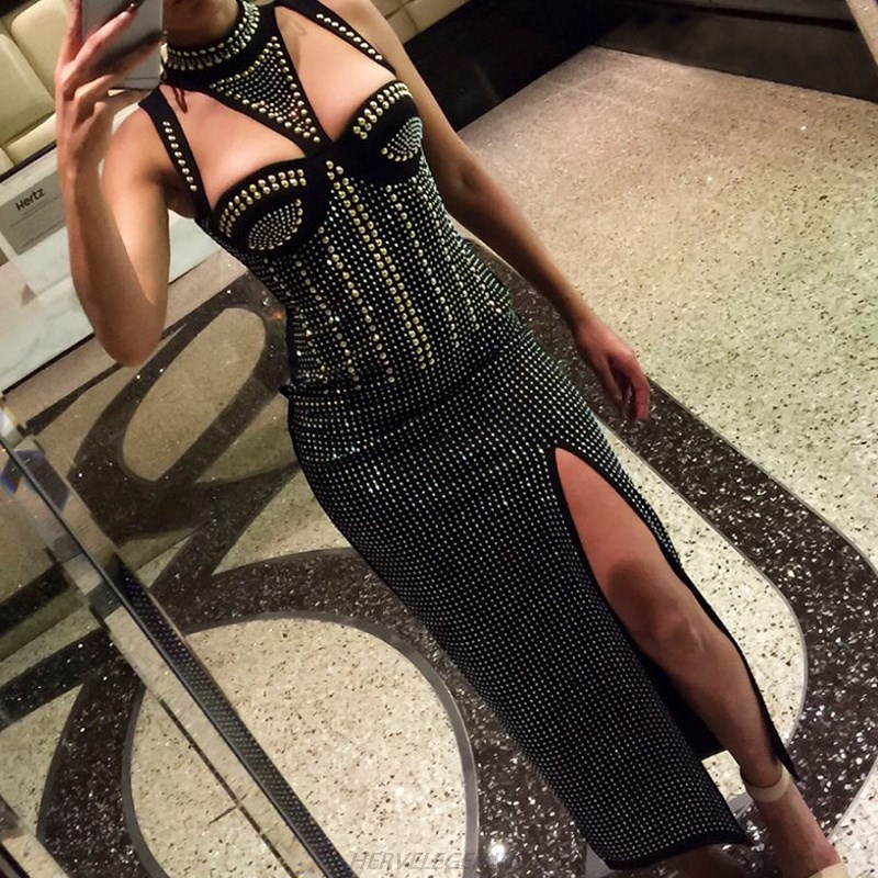 Herve Leger Black Halter Studded Slit Maxi Dress