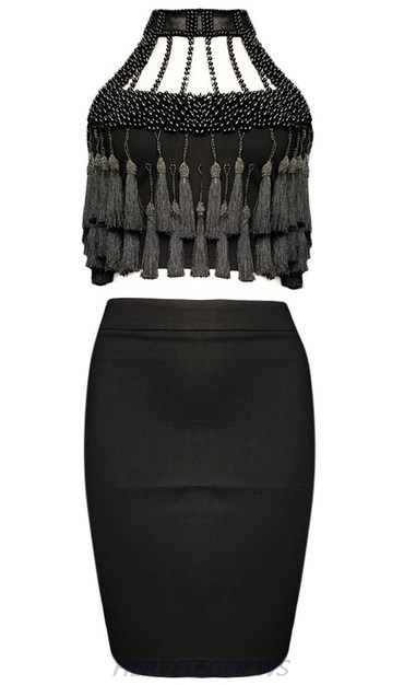 Herve Leger Black Halter Tassel Pearl Two Piece Dress