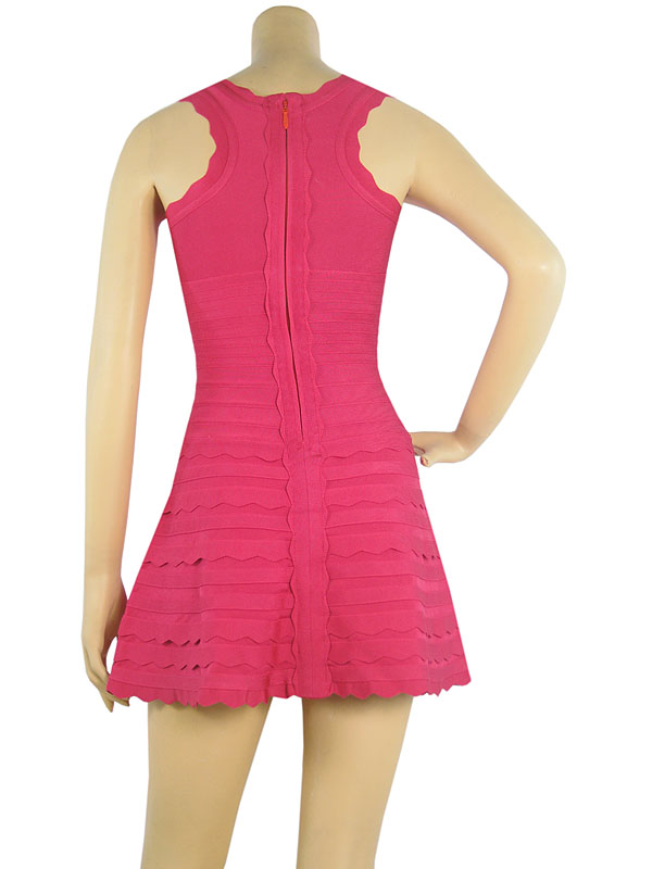 Herve Leger Multi Color A Line Scallop Trim Dress