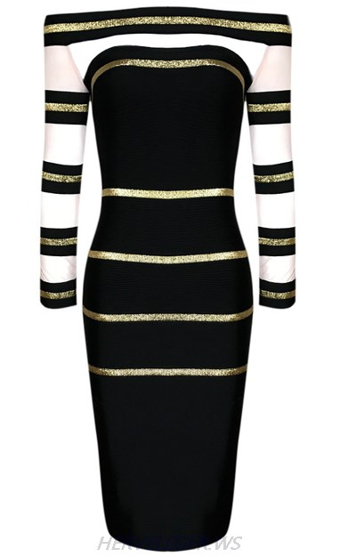 Herve Leger Black And Gold Long Sleeve Bardot Foil Dress