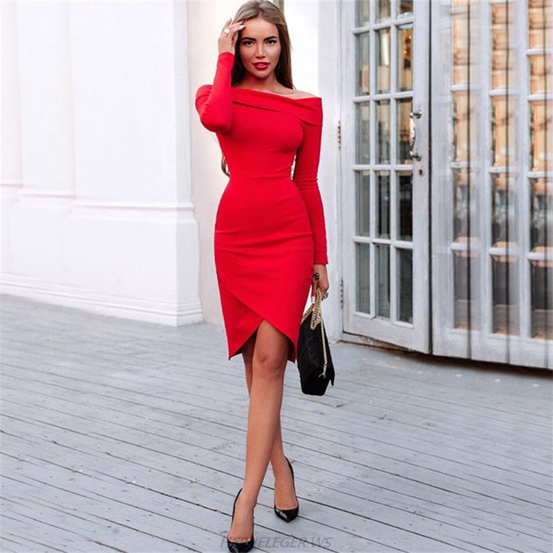 Herve Leger Red Long Sleeve Bardot Dress