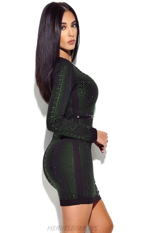 Herve Leger Green And Black Long Sleeve Embellished Dress