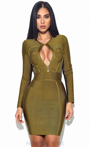 Herve Leger Green Long Sleeve Front Zipper Dress