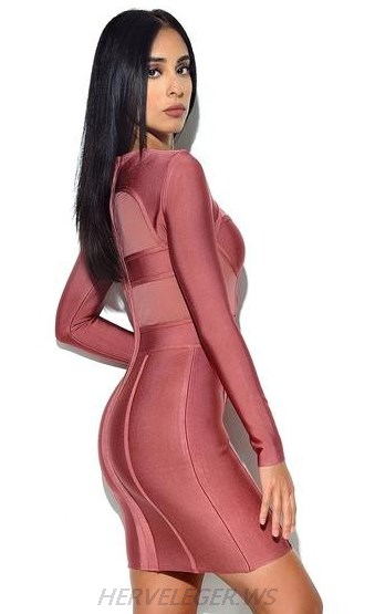 Herve Leger Pink Long Sleeve Front Zipper Dress