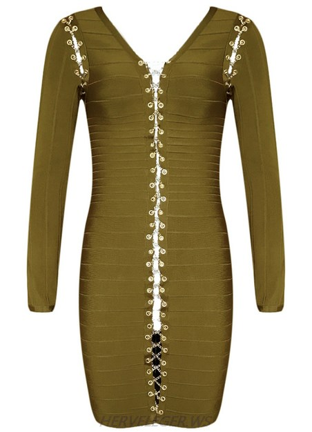 Herve Leger Green Long Sleeve Lace Up Chain Dress