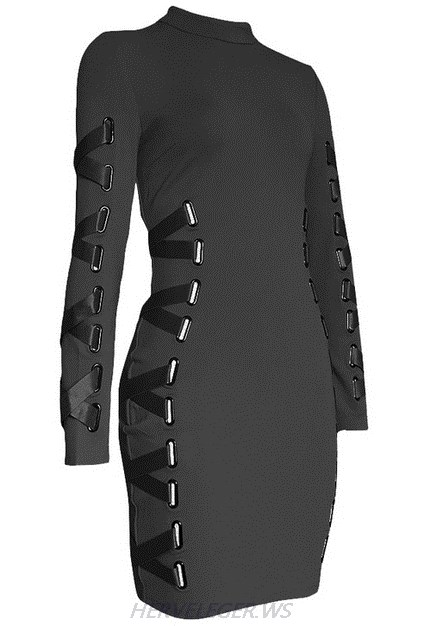 Herve Leger Black Long Sleeve Lace Up Ribbon Dress