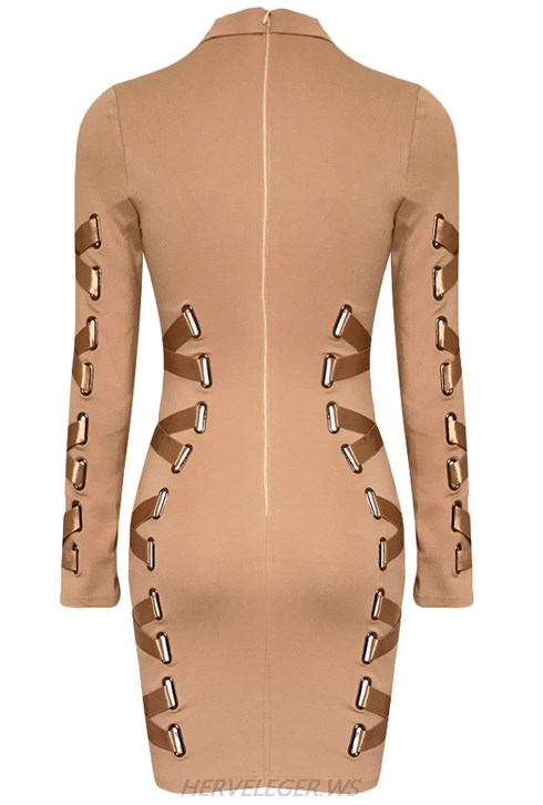 Herve Leger Nude Long Sleeve Lace Up Ribbon Dress