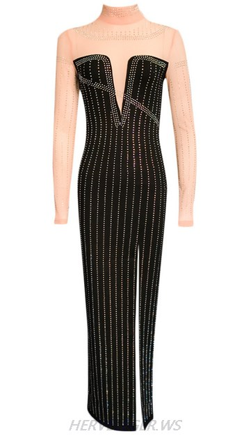 Herve Leger Black Long Sleeve Mesh Embellished Slit Dress