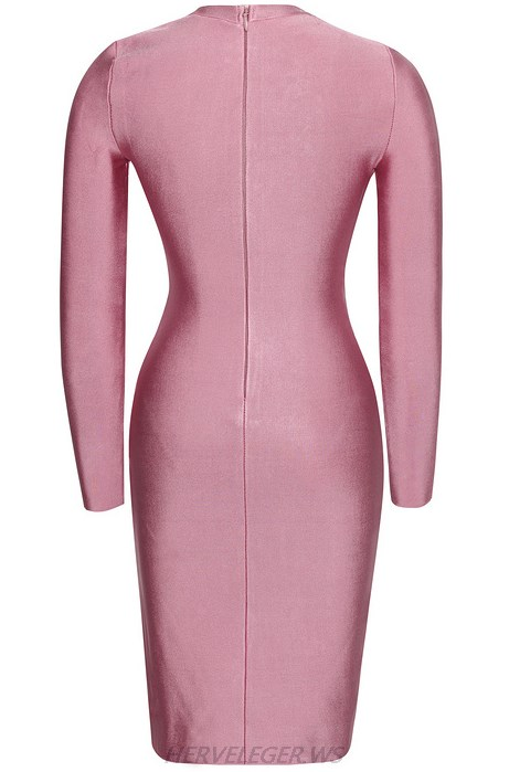 Herve Leger Pink Long Sleeve Zipper Dress