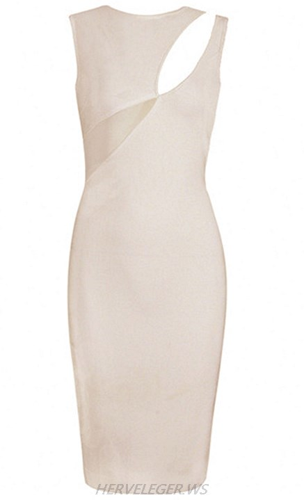 Herve Leger Nude Mesh Cut Out Dress