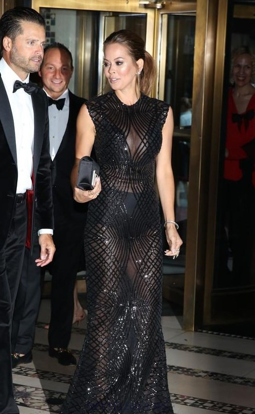 Herve Leger Black Sequin Mesh Gown