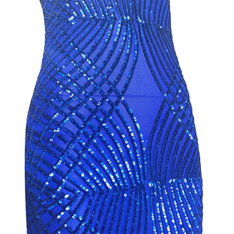 Herve Leger Blue Sequin Mesh Gown