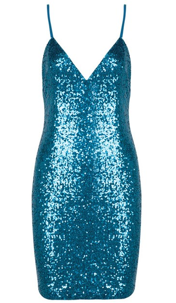 Herve Leger Blue Sequins Mini Dress