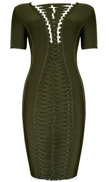Herve Leger Green Short Sleeve Lace Up Dress