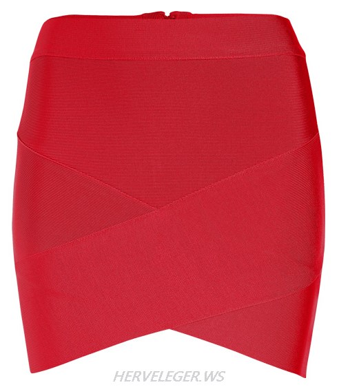 Herve Leger Red Asymmetric Skirt