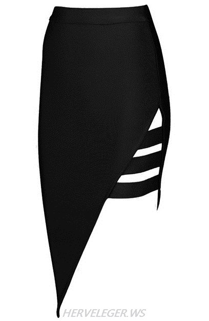 Herve Leger Black Asymmetrical Cut Out Skirt