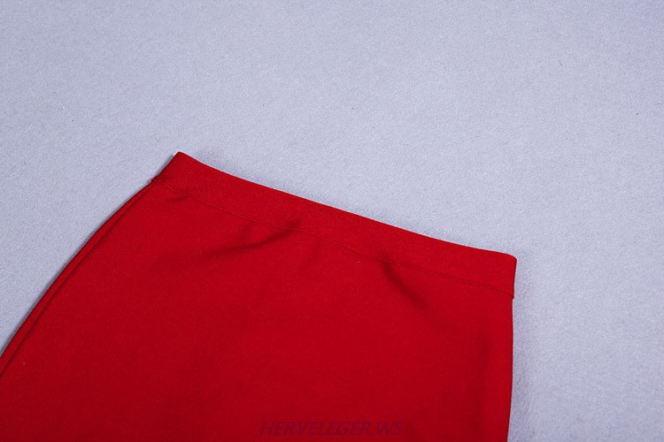 Herve Leger Red Asymmetrical Cut Out Skirt