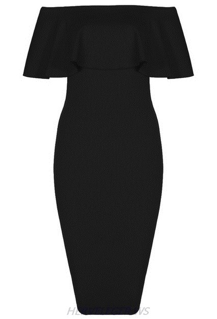 Herve Leger Black Strapless Bardot Ruffle Dress
