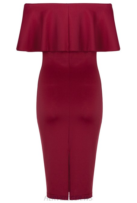 Herve Leger Burgundy Strapless Bardot Ruffle Dress