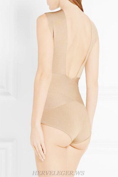 Herve Leger Nude Cross Over Bodysuit