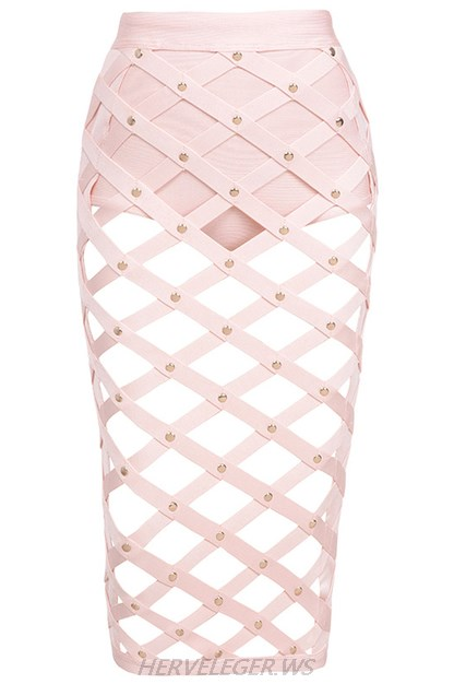 Herve Leger Pink Cut Out Studded Skirt