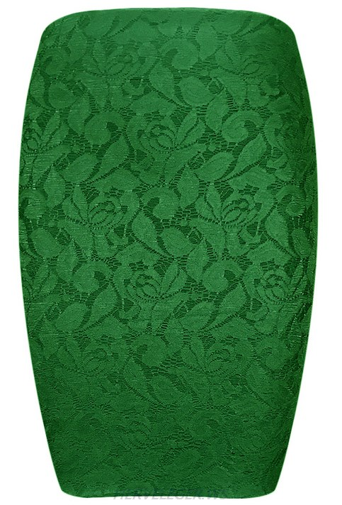 Herve Leger Green Lace Skirt