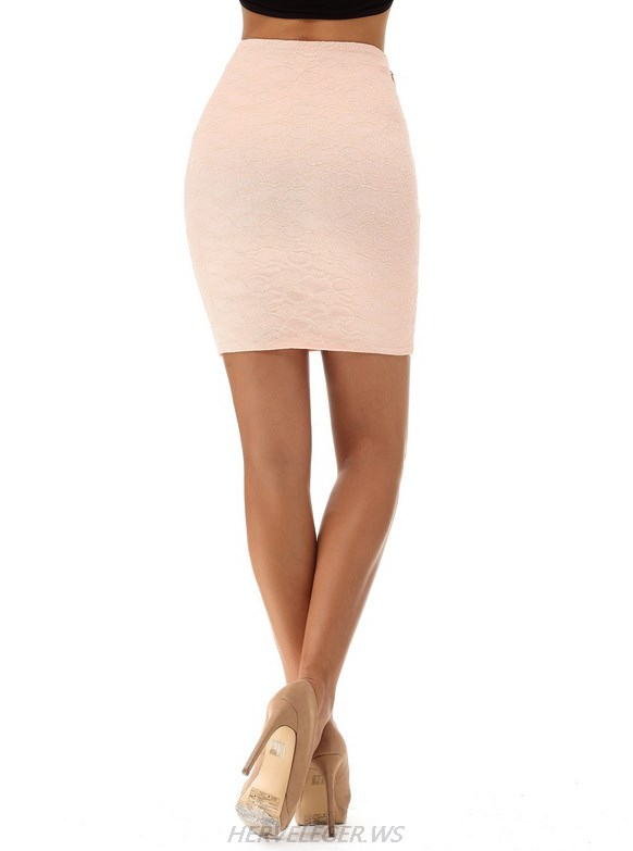 Herve Leger Pink Lace Skirt