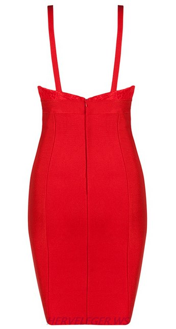 Herve Leger Red V Neck Lace Dress