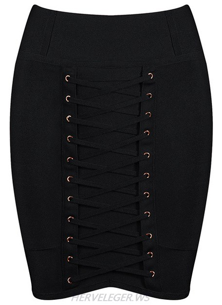 Herve Leger Black Lace Up Mini Skirt
