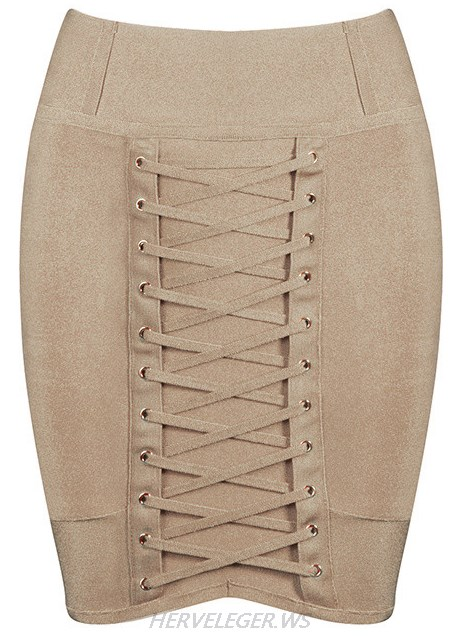 Herve Leger Khaki Lace Up Mini Skirt