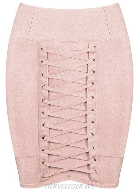 Herve Leger Nude Lace Up Mini Skirt