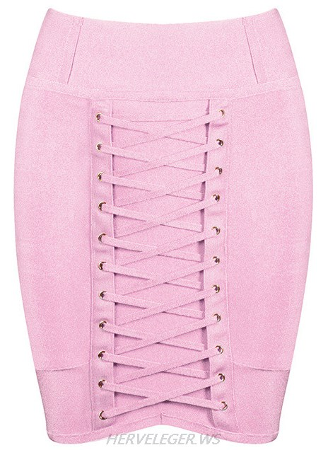 Herve Leger Pink Lace Up Mini Skirt