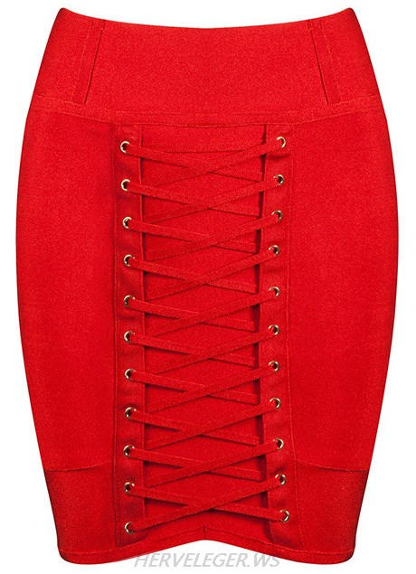 Herve Leger Red Lace Up Mini Skirt
