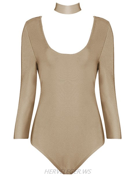 Herve Leger Khaki Long Sleeve Choker Detail Bodysuit