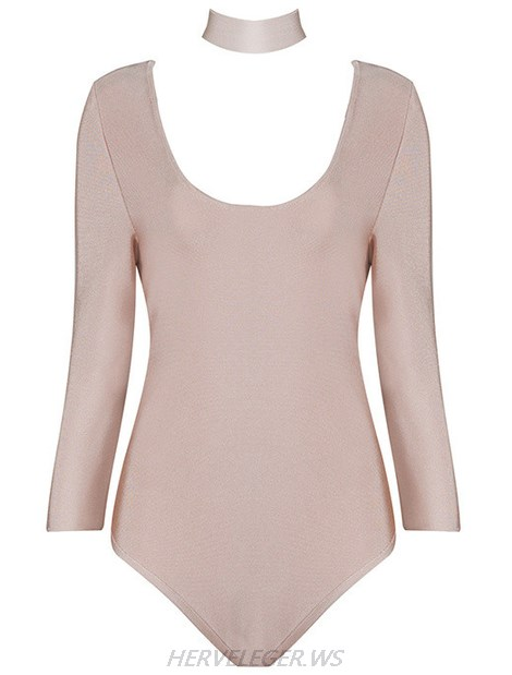 Herve Leger Nude Long Sleeve Choker Detail Bodysuit
