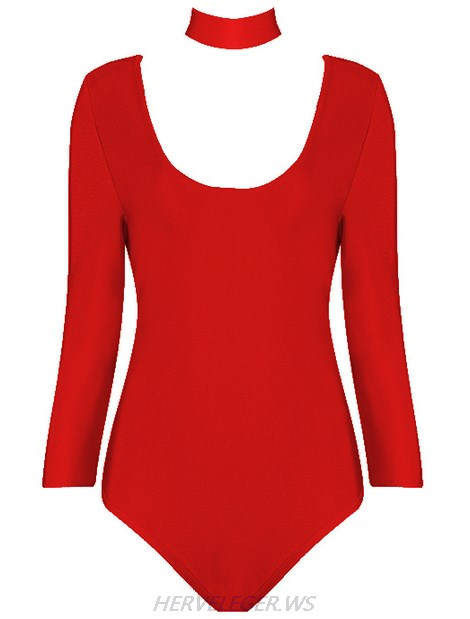 Herve Leger Red Long Sleeve Choker Detail Bodysuit