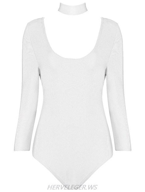 Herve Leger White Long Sleeve Choker Detail Bodysuit